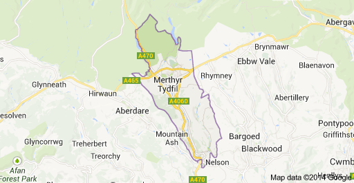 Merthyr Borough Map